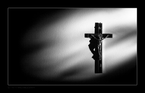 Jesus on cross black and white